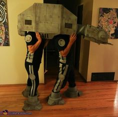 AT-AT Imperial Walker homemade costume @StyleSpaceandStuff.Blogspot.com Hasson you and clay, lee and her hubby, and me and Ryan :) the kids could be Luke and Leia