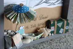 Polly kreativ: Geldgeschenk - Bilderrahmen zum Thema Sylt, maritimes Hochzeitsgeschenk
