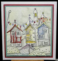 Vesiväreillä leikitty Leimakuva on Michael Powell - Shore Thing, väritykset Winsor & Newton vesiväreillä.