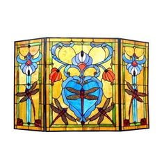 Chloe Lighting Dragonfly 3 Panel Glass Fireplace Screen > Overall Width (in) 44.00 Overall Height (in) 28.00 Cntr Pane Width (in) 22.00 Check more at http://farmgardensuperstore.com/product/chloe-lighting-dragonfly-3-panel-glass-fireplace-screen/