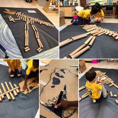 Kindergarten students create a T-Rex out of recycled materials