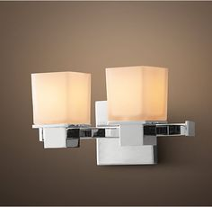 """Bryant Double Sconce from Restoration Hardware.  Available in Satin Nickel, Polished Chrome, and Polished Nickel. 12""""W x 5¼""""D x 6¼""""H.  4.5"""" square backplate"""