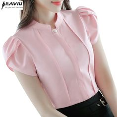 Cheap ladies formals, Buy Quality chiffon blouse directly from China short sleeve chiffon blouse Suppliers: Fashion Stand collar women shirt OL office puff short sleeve chiffon blouses OL ladies formal work wear summer clothes slim tops Summer Work Wear, Formal Blouses, Sleeves Designs For Dresses, Trendy Tops, Classy Dress, Stylish Dresses, Blouse Designs, Blouses For Women, Fashion Outfits