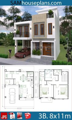 3 Storey House Design, Two Story House Design, Duplex House Design, Small House Design, Modern House Floor Plans, Narrow Lot House Plans, Duplex House Plans, 20x40 House Plans, Two Storey House Plans