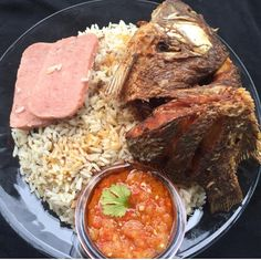 One of my favorite liberian dishes rice and palm butter yum my dry rice fry fish boiled luncheon meat liberian food ibeethechef forumfinder Gallery