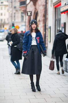 Namesake style spottings // Love this cold-weather way to wear a midi skirt too #StreetStyle