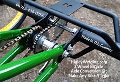 Make any bike a trike using our 3 wheel bicycle conversion axle.Custom built special needs bicycles tricycles.Higley 3 wheel tag along for kids. Velo Tricycle, Adult Tricycle, Trike Bicycle, Cargo Bike, Go Kart, Bike Chopper, Three Wheel Bicycle, Velo Design, Bicycles For Sale