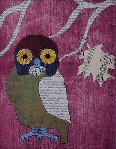 owl art | ... Home Decor - Owl Decor - Whimsical Wall Art - Newspaper Art - Magenta