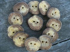 12 Rustic Oak Wood Buttons Just Over 1 Inch by PymatuningCrafts, $7.25