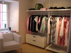 Stolmen on the side wall in the bedroom, definitely need this! Master Closet, Walk In Closet, Master Bedroom, Bedroom Inspo, Bedroom Ideas, Bedroom Decor, Stolmen Ikea, How To Organize Your Closet, Beautiful Closets