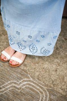 eyelet dress, simple sandals