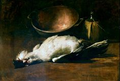 Emil Carlsen Still Life of Game Bird and Wine Bottle (also known as Kitchen Still Life & Game Bird and Copper Pot) 1883