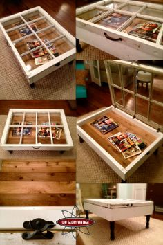 Use old window frames to make a coffee table with storage.