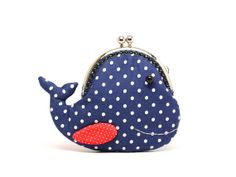 Cute navy blue whale clutch purse van misala op Etsy