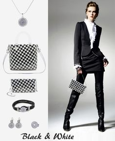 Black&white outfit #clutch #jewelry #piedepoule