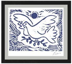 "Pablo Picasso ""Blue Dove of Peace"" Original Hand-Signed Limited Edition Linocut Print with COA (unframed) Pablo Picasso, Kunst Picasso, Picasso Blue, Picasso Art, Picasso Dove Of Peace, Peace Dove, Peace Bird, Matisse, Linocut Prints"