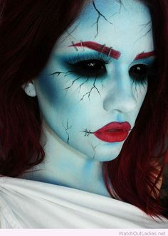 Blue and red Halloween makeup