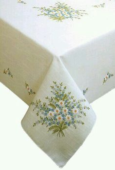 Tobin Forget Me Not Stamped Oblong Tablecloth for Embroid.Tobin Forget Me Not Stamped Tablecloth for Embroidery. Wow, I stitched one like this for my brother's wedding over 30 years ago!Stamped Tablecloth For Embroidery Kit Royal Mouline Floral Splen Embroidery Flowers Pattern, Silk Ribbon Embroidery, Hand Embroidery Designs, Embroidery Kits, Floral Embroidery, Cross Stitch Embroidery, Cross Stitch Patterns, Machine Embroidery, Bordado Floral
