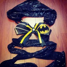Batman rave bra with a hood and body wraps by SweetXTC on Etsy, $50.00