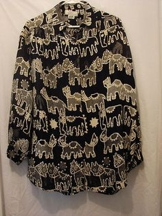 Blouse Long Sleeve Sequin Top Sandy Starkman Size M Black and Tan with Sequins $28.00