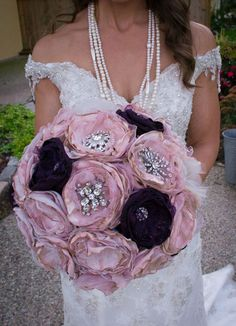 DIY Fabric Flower and Brooch Bouquet