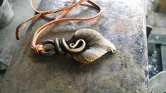 Hand Forged Steel Leaf Pendant by WarFireForge on Etsy