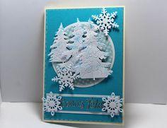Carte de voeux double faite main bleue et blanche