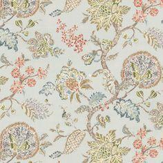 Pale Aqua Delicate Floral Linen Fabric | On the Bright Side Chalk Blue | Loom Decor