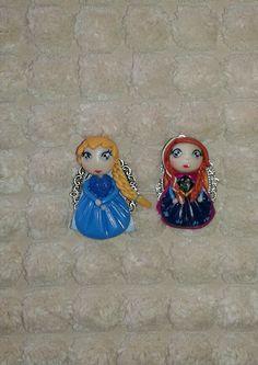 Ciondoli collana anna e Elsa frozen Fimo polymer clay