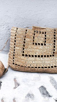 Diy Crochet Bag, Crochet Purse Patterns, Crochet Market Bag, Crochet Clothes, Knit Crochet, Knitting Patterns, Modern Crochet Patterns, Crochet Summer, Crochet Handbags