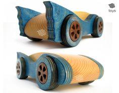 Wood Blue Bat Car natural toy handmade