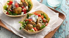 This riff on the Mediterranean classic uses easy Freezer-Friendly Turkey Meatballs and El Paso™ Stand & Stuff™ soft flour tortillas to give the flavors of shawarma and gyros without the restaurant-sized rotisserie. Turkey Recipes, Chicken Recipes, Dinner Recipes, Dinner Ideas, Shawarma Recipe, Turkey Meatballs, Wrap Sandwiches, Healthy Eating, Healthy Life