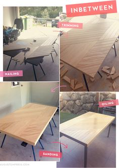 if I had no children, I would make this upcycled tabletop. since I have them, we'll dream about making it when *they* start using the chopsaw. 2014?