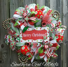 """""""MERRY CHRISTMAS"""" wreath!  Check out this item in my Etsy shop https://www.etsy.com/listing/476673764/christmas-wreath-whimsical-christmas"""