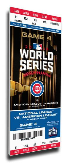 2016 World Series Game 4 Canvas Mega Ticket - Chicago Cubs - Personalizable