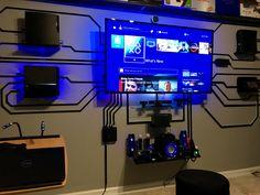 Can we wall mount devices behind the projector screen? Nerd Room, Gamer Room, Gaming Room Setup, Computer Setup, Bar Design, House Design, Design Ideas, Design Concepts, Sala Nerd