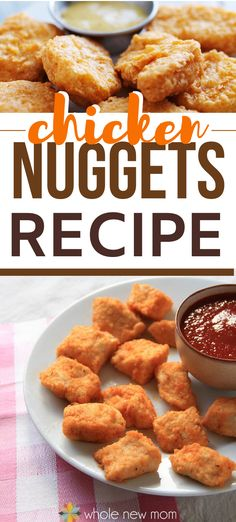 These Easy Baked Homemade Chicken Nuggets taste like you spent a TON of time in the kitchen. But they come together in a flash. This is such an easy recipe!  Gluten Free Yummy Healthy Snacks, Healthy Comfort Food, Healthy Appetizers, Healthy Dinner Recipes, Low Carb Recipes, Real Food Recipes, Easy Recipes, Easy Meals, Low Carb Side Dishes