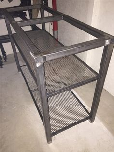 Steel table frame with expanded metal shelves that will hold 100 year old Fir barn wood Welded Furniture, Steel Furniture, Industrial Furniture, Diy Furniture, Furniture Design, Furniture Outlet, Bathroom Furniture, Discount Furniture, Pallet Accent Wall