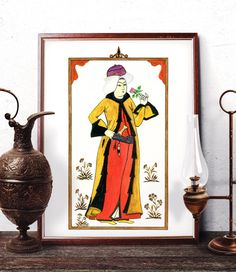 Traditional Man Wall Art Ottoman Miniature Home by HermesArts