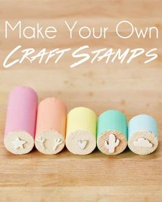 Stempel selber machen l Make Your Own Stamps And Never Stop Stamping Diy And Crafts, Crafts For Kids, Arts And Crafts, Paper Crafts, Make Your Own Stamp, Foam Stamps, Craft Stamps, Handmade Stamps, Ideias Diy