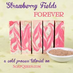 Strawberries & Cream Soap: A cold process tutorial - Soap Queen Homemade Soap Bars, Homemade Soap Recipes, Soap Making Recipes, Soap Tutorial, Handmade Soaps, Diy Soaps, Bath Soap, Bath Fizzies, Soap Packaging