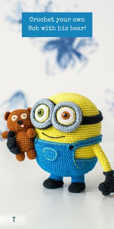 If you have a little Minion fan in your family this crochet pattern tutorial will show you how to make your own Bob with his teddy bear! #ad #crochetpattern #minions