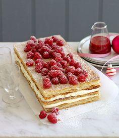 Raspberry Millefeuille via Gourmet Traveller recipe Millefeuille Rezept, Just Desserts, Dessert Recipes, Dessert Food, Cupcakes, Recipe Search, Serving Platters, Macarons, Creme