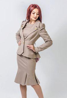 Items similar to Dalia 2 (suit-dress+jacket) on Etsy Skirt Suit, Jacket Dress, Suits For Women, Women Wear, Ladies Suits, Women's Suits, Church Suits, Retro Chic, Flare Pants