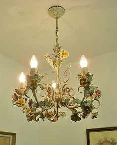 ULTIMATE SHABBY ITALIAN CHIC FLORENTINE TOLEWARE TOLE CHANDELIER CERAMIC ROSES