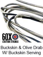 buckskin and olive drab with buckskin serving custom bow string