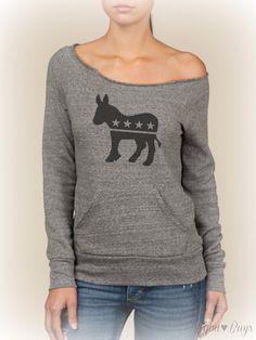 Democrat, Donkey, Patriotic, -- design on Wide neck fleece sweatshirt. Sizes S-XL.  Other colors available.. $40.00, via Etsy.