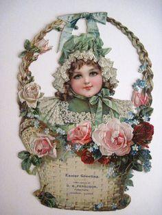 "Victorian Easter Greeting Trade Card  "" D.W.Ferguson, Furniture "" Roses & Basket"