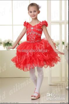 Wholesale red beads mini skirt flower Girls kids PAGEANT party prom wedding gown evening homecoming dresses 251, Free shipping, $86.36/Piece | DHgate