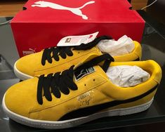447f5d585916 Puma clyde 10.5 Yellow And black Suede  fashion  clothing  shoes   accessories
